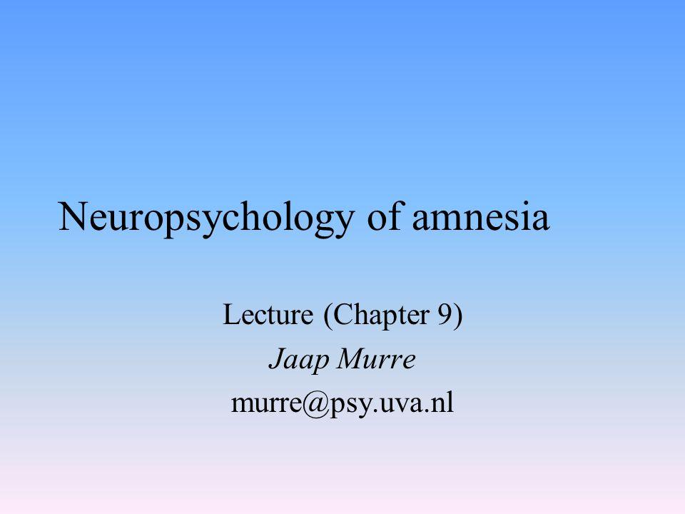 Next lecture Implicit memory Dementia
