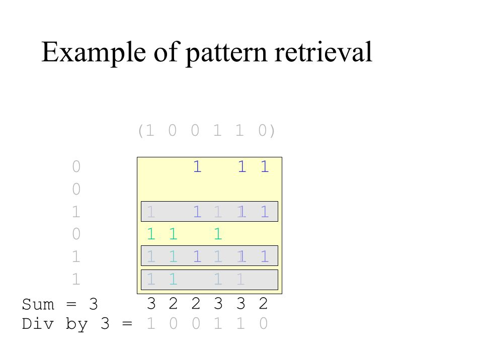 Example of pattern retrieval 1 1 1 001011001011 1 1 1 1 1 1 1 1 1 3 2 2 3 3 2 1 0 0 1 1 0 Sum = 3 Div by 3 = (1 0 0 1 1 0)