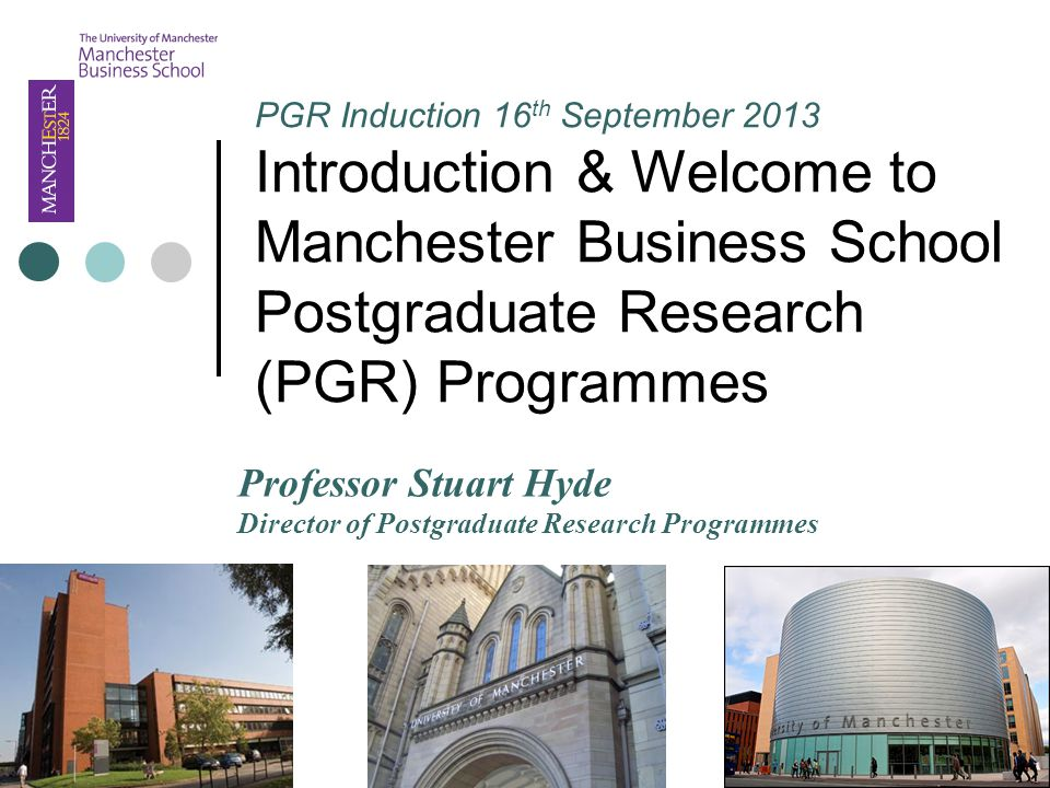 PGR Induction 16 th September 2013 Introduction & Welcome to Manchester Business School Postgraduate Research (PGR) Programmes Professor Stuart Hyde Director of Postgraduate Research Programmes