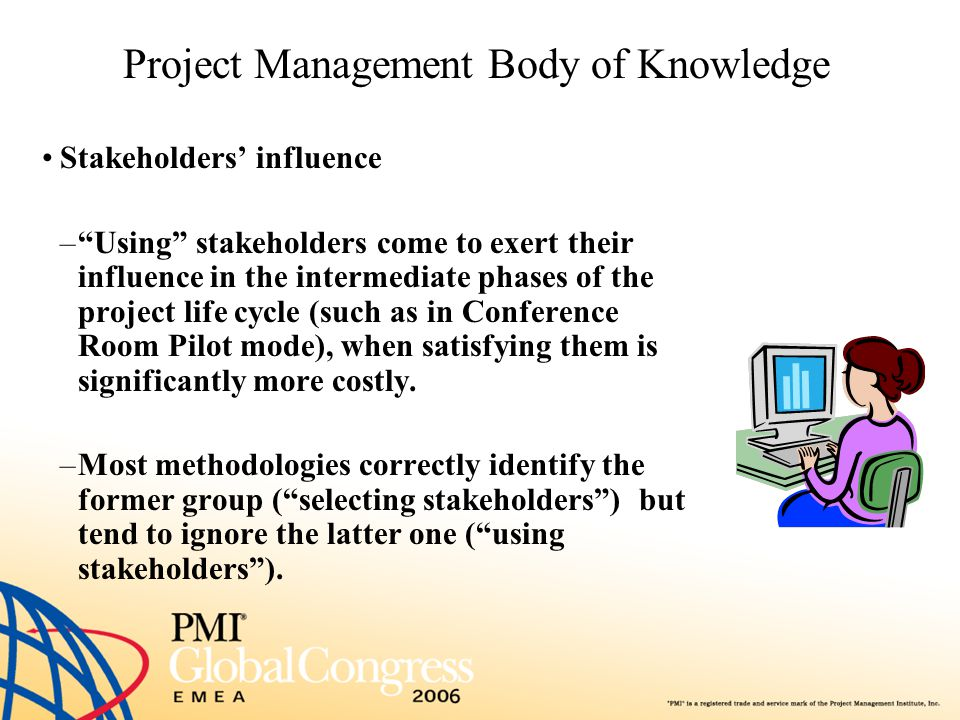 """Project Management Body of Knowledge Stakeholders' influence –""""Using"""" stakeholders come to exert their influence in the intermediate phases of the pro"""