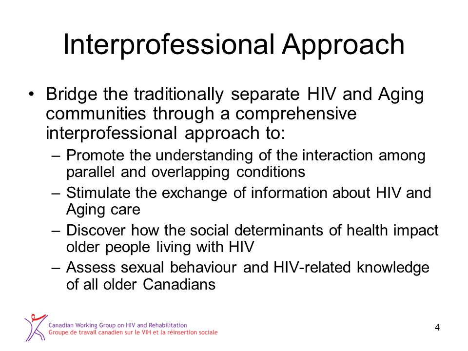 4 Interprofessional Approach Bridge the traditionally separate HIV and Aging communities through a comprehensive interprofessional approach to: –Promo