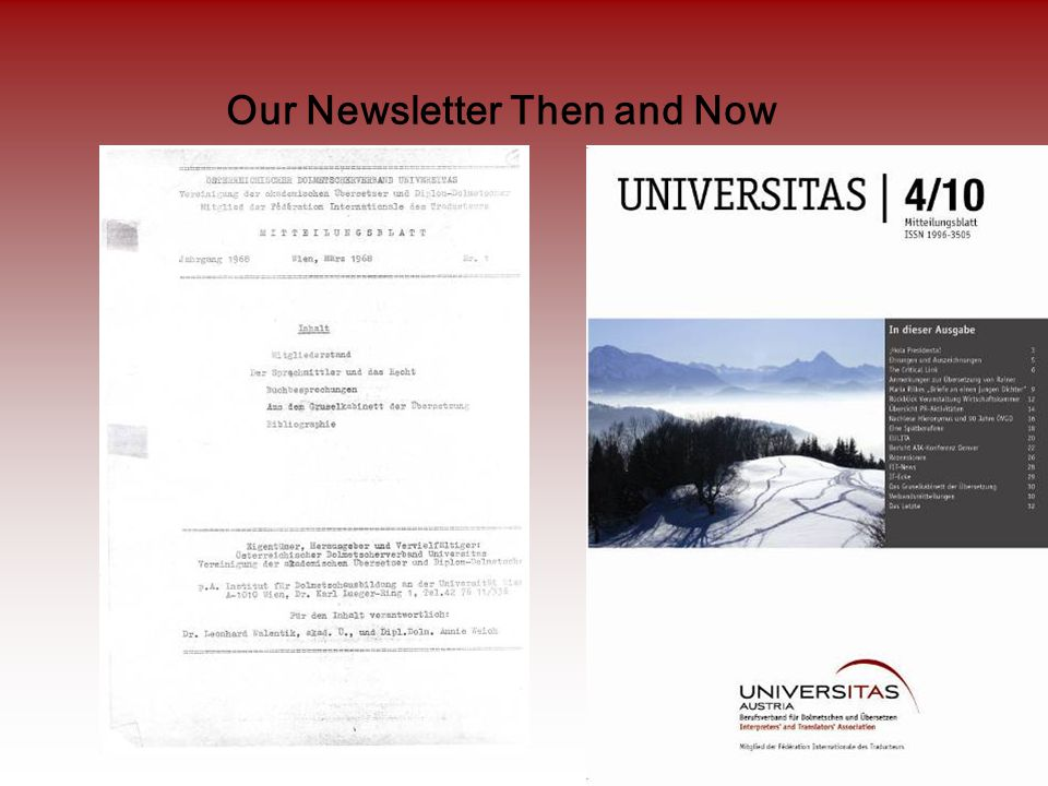 Our Newsletter Then and Now