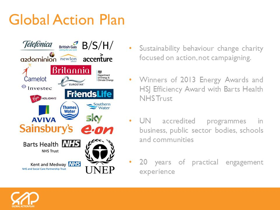 Sustainability behaviour change charity focused on action, not campaigning.