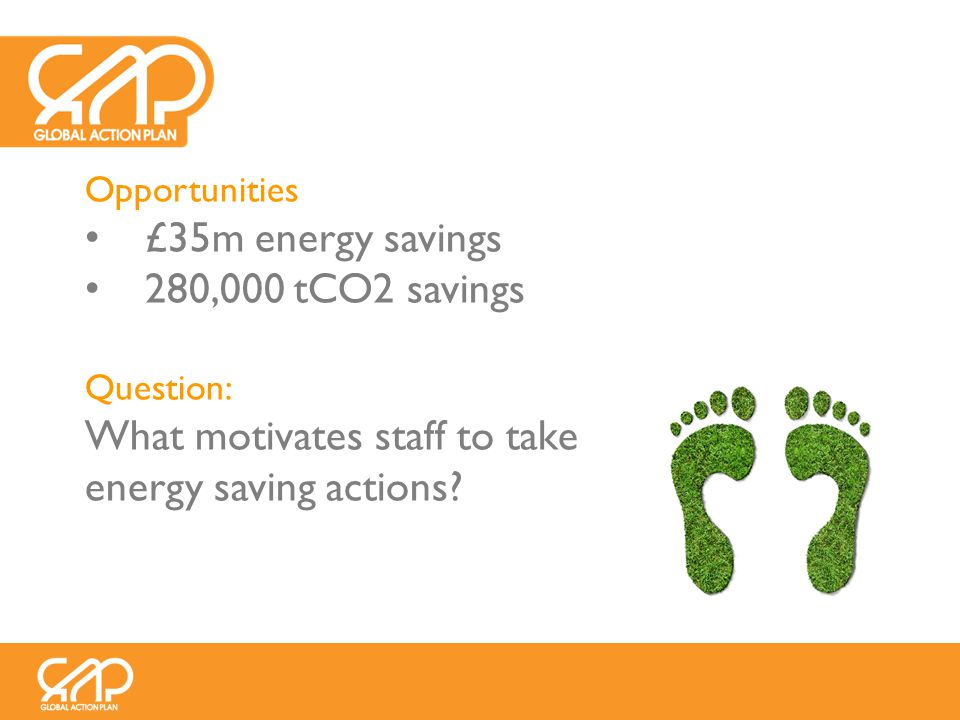 Opportunities £35m energy savings 280,000 tCO2 savings Question: What motivates staff to take energy saving actions?