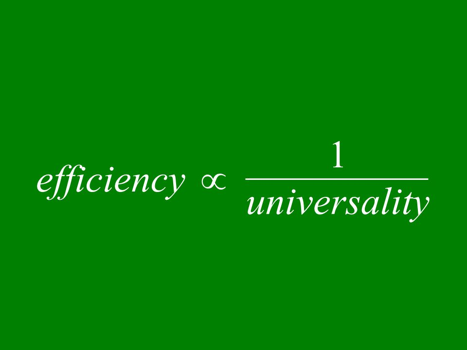 efficiency  1 universality