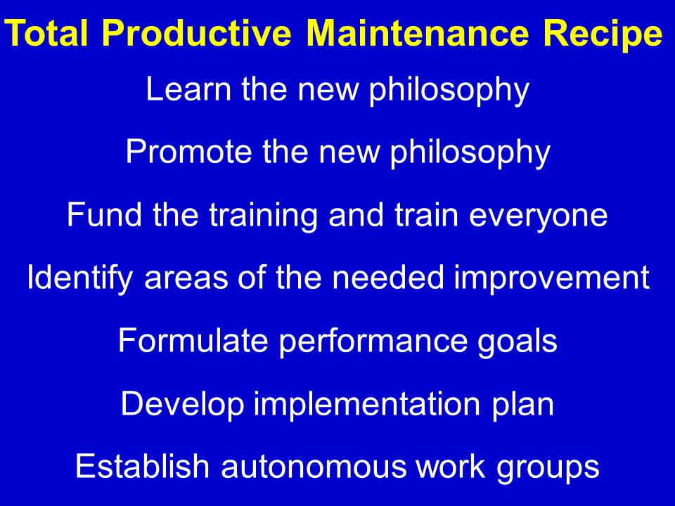Learn the new philosophy Promote the new philosophy Fund the training and train everyone Identify areas of the needed improvement Formulate performanc