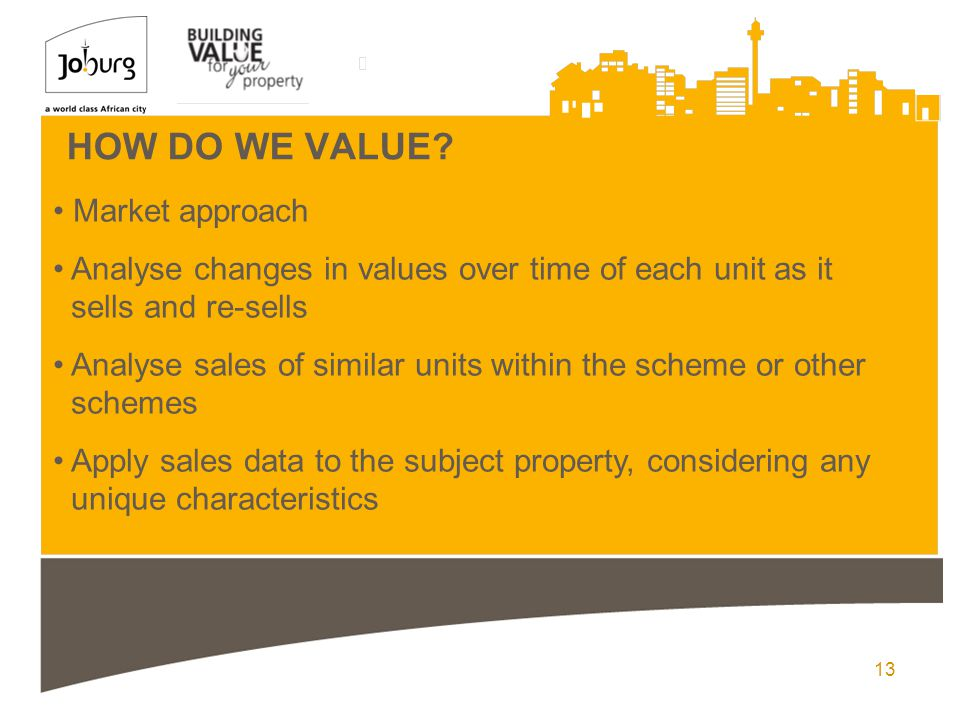 13 HOW DO WE VALUE? Market approach Analyse changes in values over time of each unit as it sells and re-sells Analyse sales of similar units within th