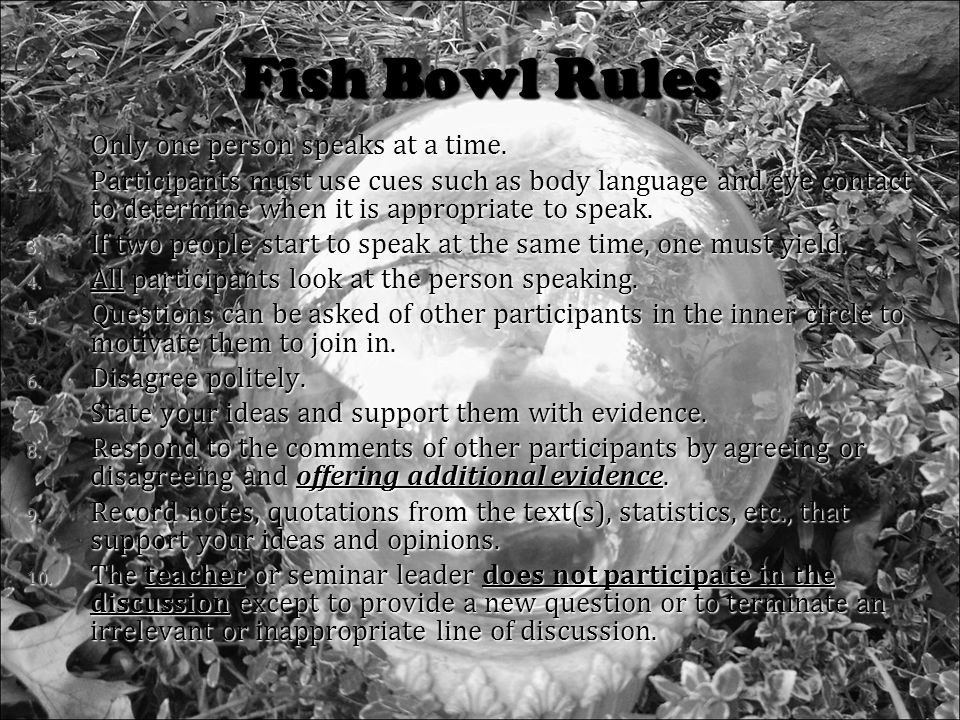 Fish Bowl Rules 1. Only one person speaks at a time.