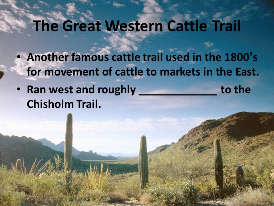 The Great Western Cattle Trail Another famous cattle trail used in the 1800's for movement of cattle to markets in the East. Ran west and roughly ____