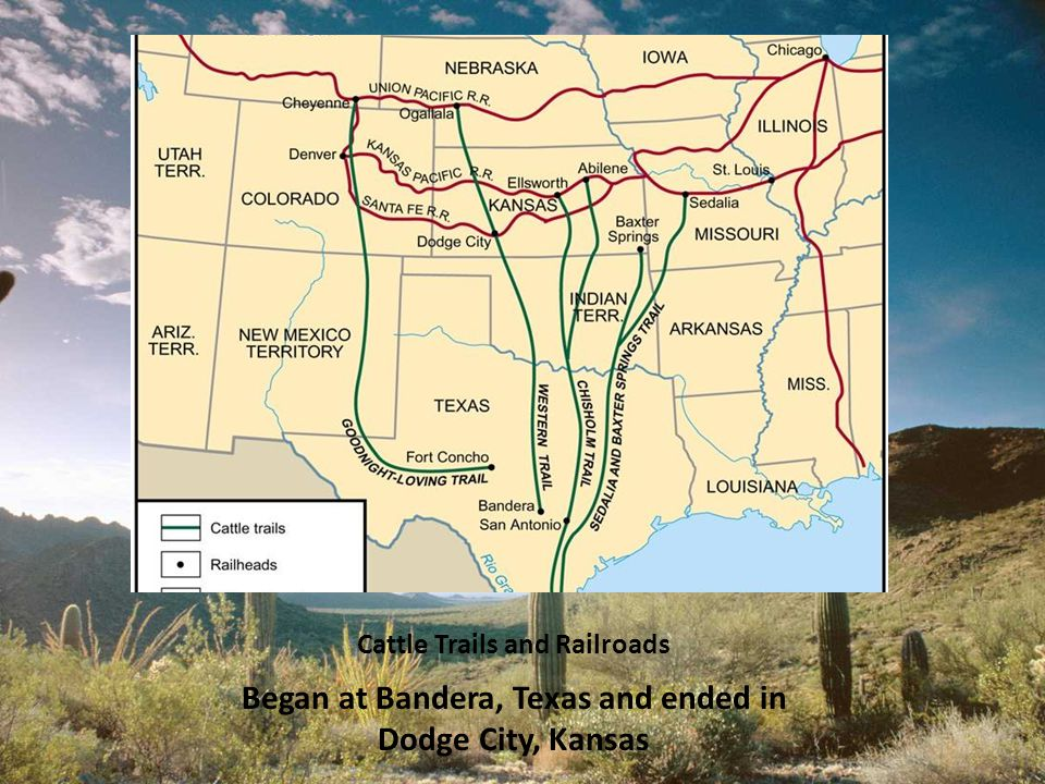 Cattle Trails and Railroads Began at Bandera, Texas and ended in Dodge City, Kansas