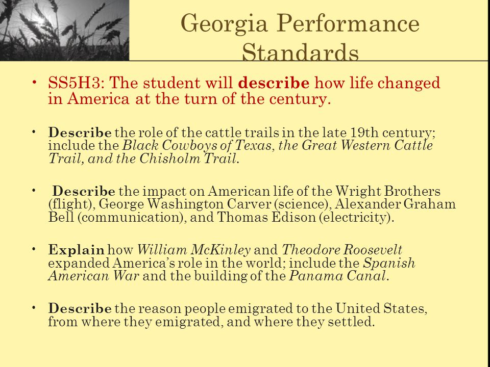 Georgia Performance Standards SS5H3: The student will describe how life changed in America at the turn of the century. Describe the role of the cattle