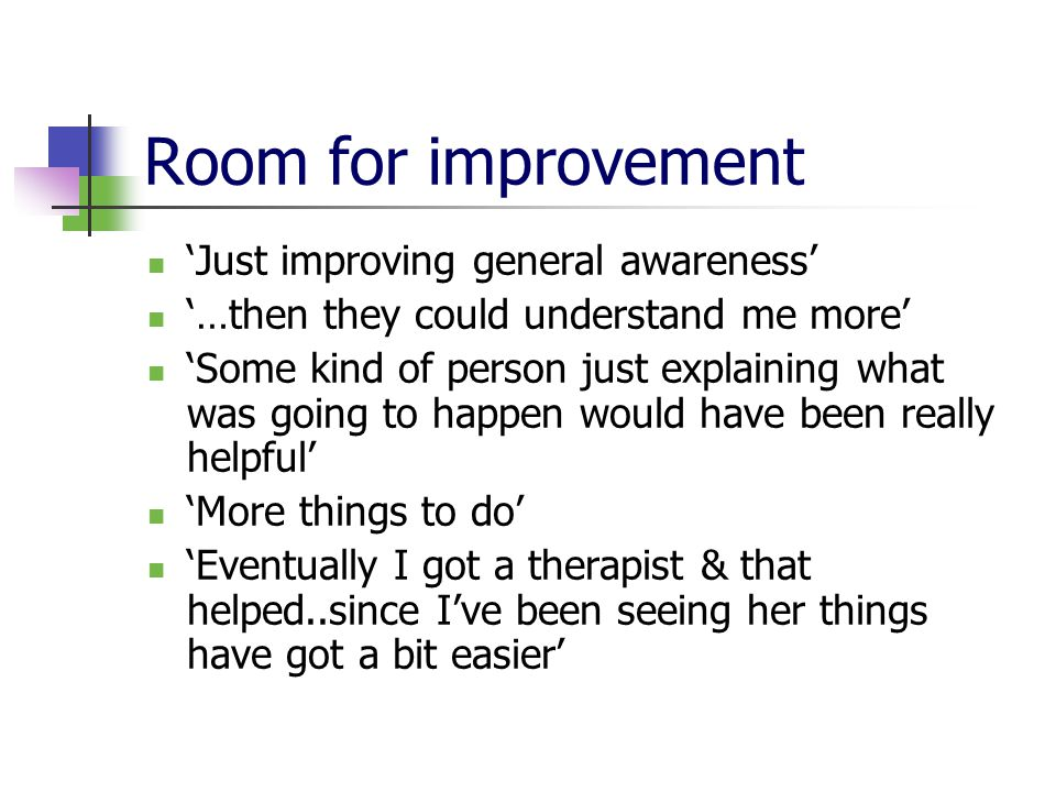 Room for improvement 'Just improving general awareness' '…then they could understand me more' 'Some kind of person just explaining what was going to happen would have been really helpful' 'More things to do' 'Eventually I got a therapist & that helped..since I've been seeing her things have got a bit easier'