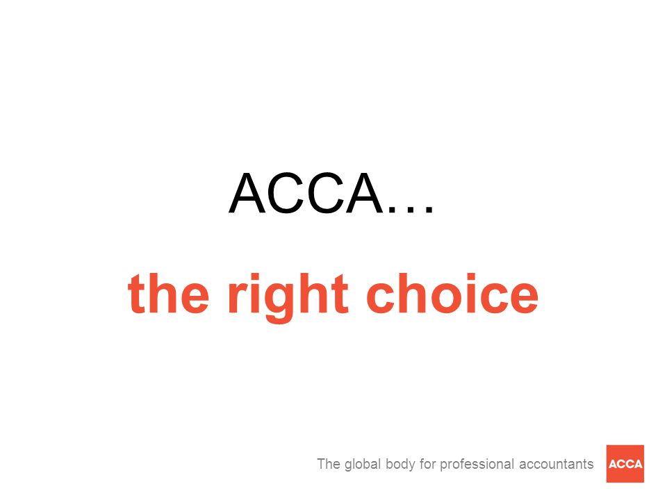ACCA… the right choice