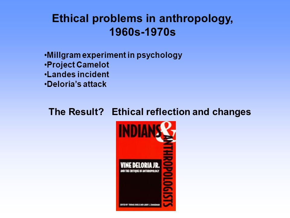 Millgram experiment in psychology Project Camelot Landes incident Deloria's attack Ethical problems in anthropology, 1960s-1970s The Result? Ethical r