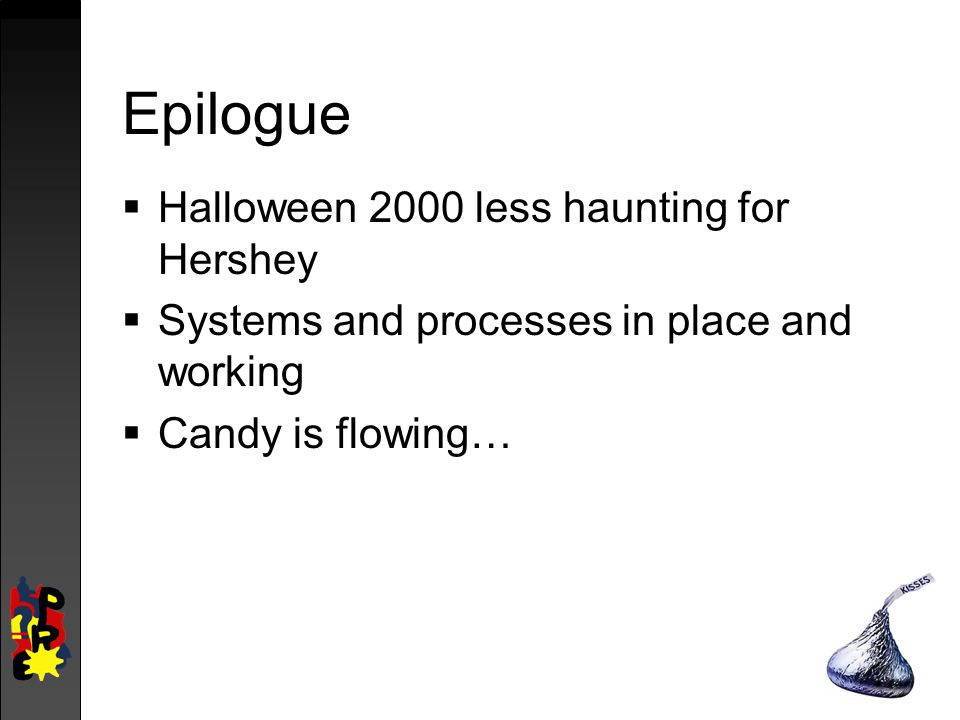 Epilogue  Halloween 2000 less haunting for Hershey  Systems and processes in place and working  Candy is flowing…