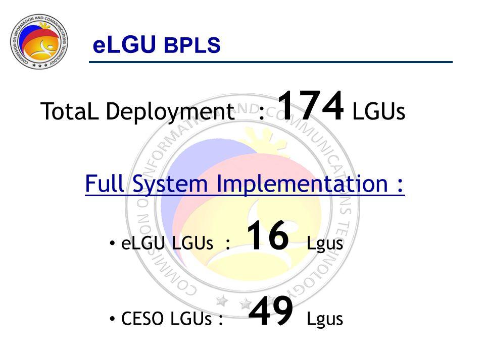 TotaL Deployment : 174 LGUs Full System Implementation : eLGU LGUs : 16 Lgus CESO LGUs : 49 Lgus