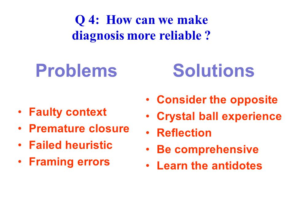 Problems Solutions Faulty context Premature closure Failed heuristic Framing errors Consider the opposite Crystal ball experience Reflection Be comprehensive Learn the antidotes Q 4: How can we make diagnosis more reliable