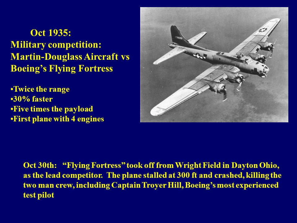 Oct 30th: Flying Fortress took off from Wright Field in Dayton Ohio, as the lead competitor.