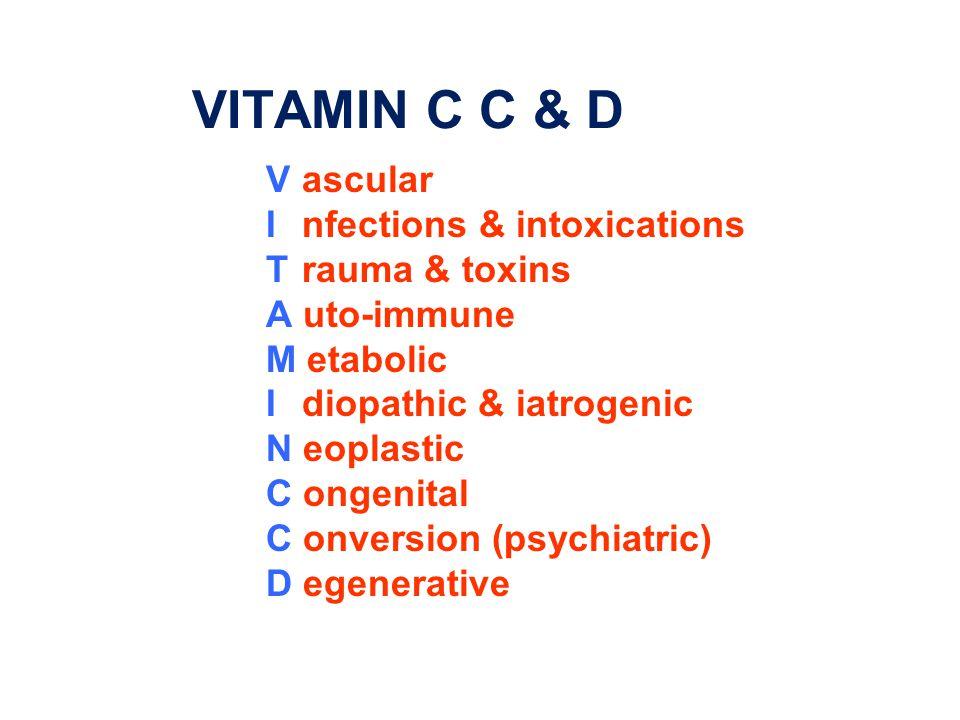 VITAMIN C C & D Vascular Infections & intoxications Trauma & toxins A uto-immune M etabolic Idiopathic & iatrogenic N eoplastic C ongenital C onversion (psychiatric) D egenerative