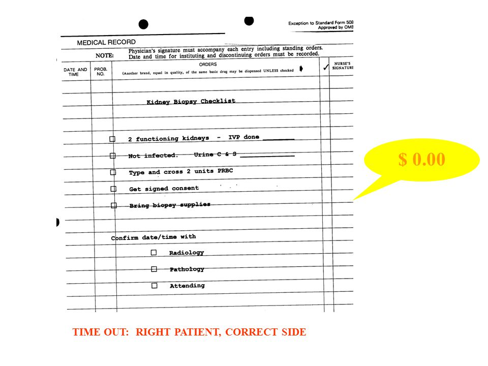 TIME OUT: RIGHT PATIENT, CORRECT SIDE $ 0.00