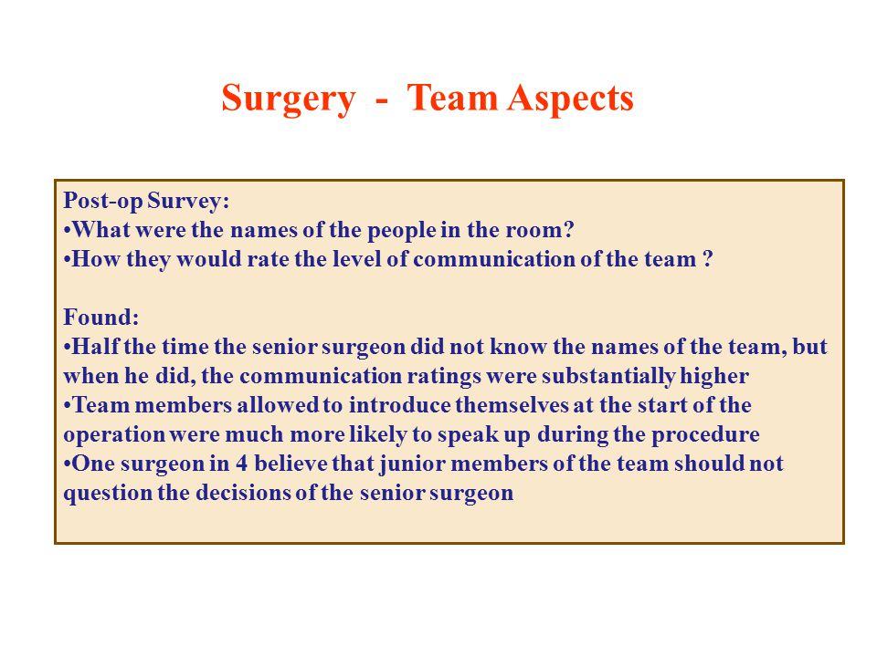 Post-op Survey: What were the names of the people in the room.