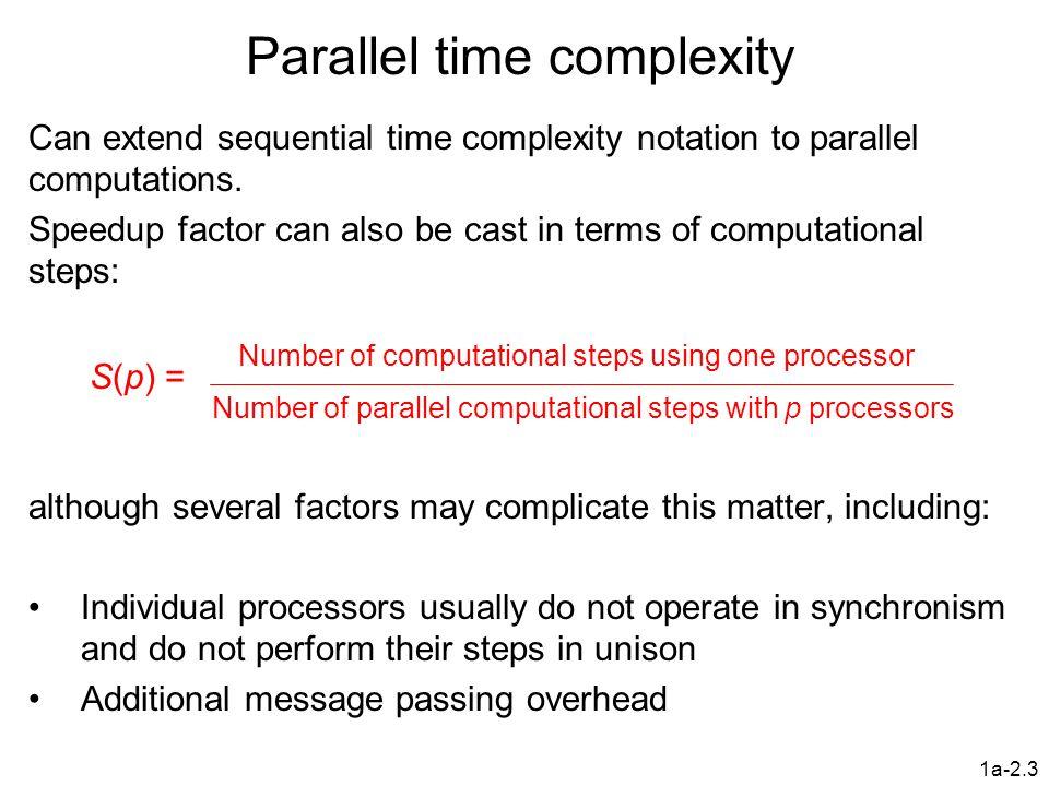 1a-2.4 Maximum Speedup Maximum speedup usually p with p processors (linear speedup).