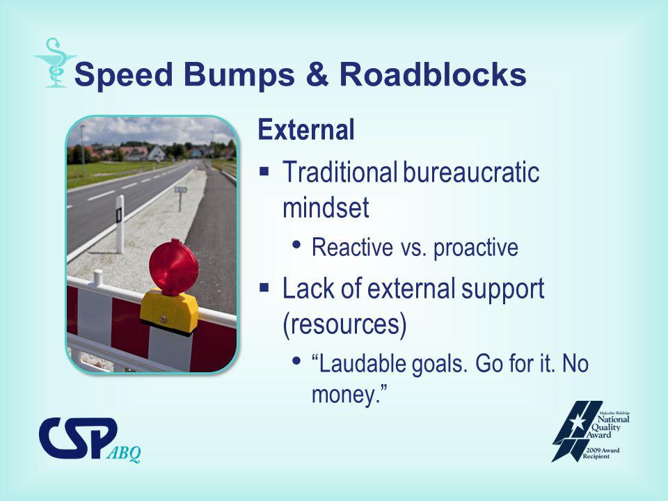 Speed Bumps & Roadblocks External  Traditional bureaucratic mindset Reactive vs.