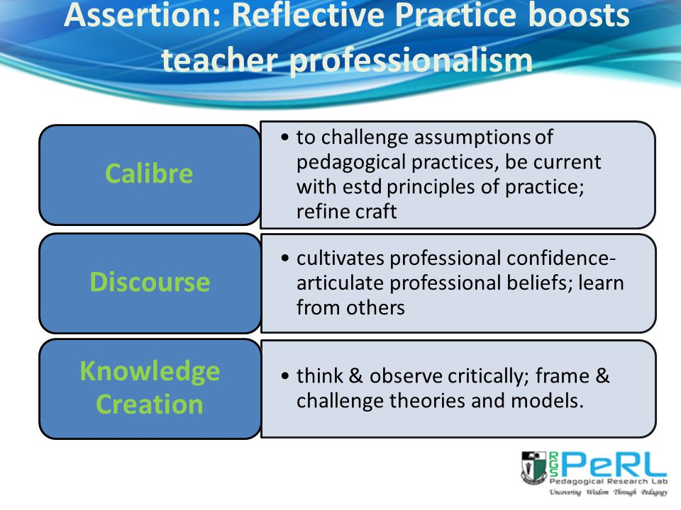 to challenge assumptions of pedagogical practices, be current with estd principles of practice; refine craft Calibre cultivates professional confidence- articulate professional beliefs; learn from others Discourse think & observe critically; frame & challenge theories and models.