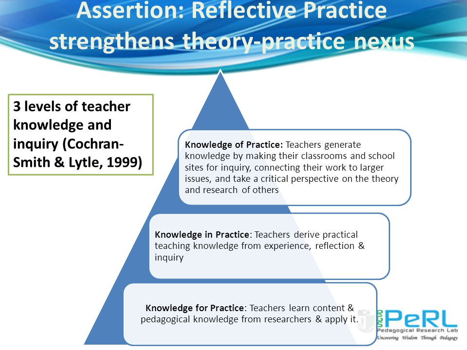 Knowledge for Practice: Teachers learn content & pedagogical knowledge from researchers & apply it.