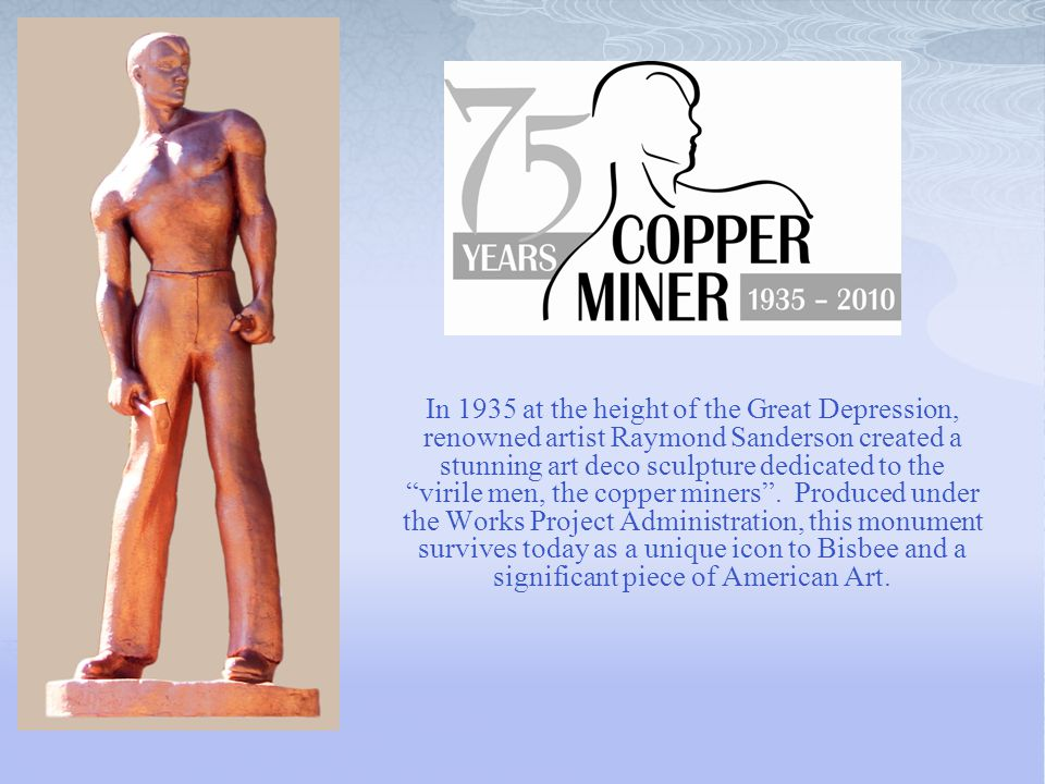 """In 1935 at the height of the Great Depression, renowned artist Raymond Sanderson created a stunning art deco sculpture dedicated to the """"virile men, t"""