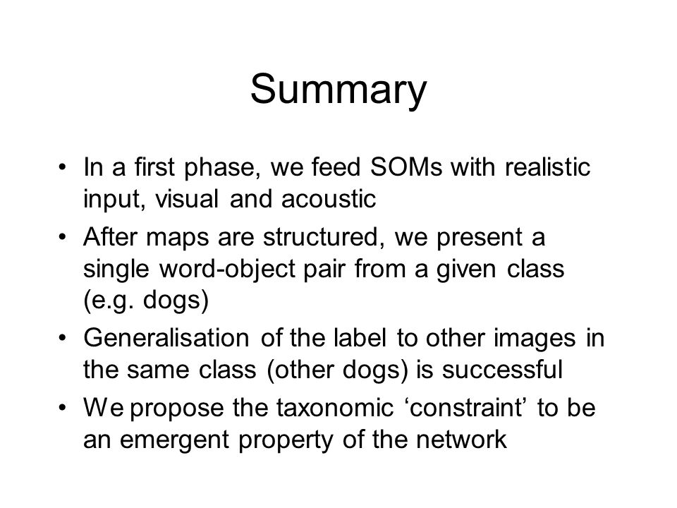 Summary In a first phase, we feed SOMs with realistic input, visual and acoustic After maps are structured, we present a single word-object pair from a given class (e.g.