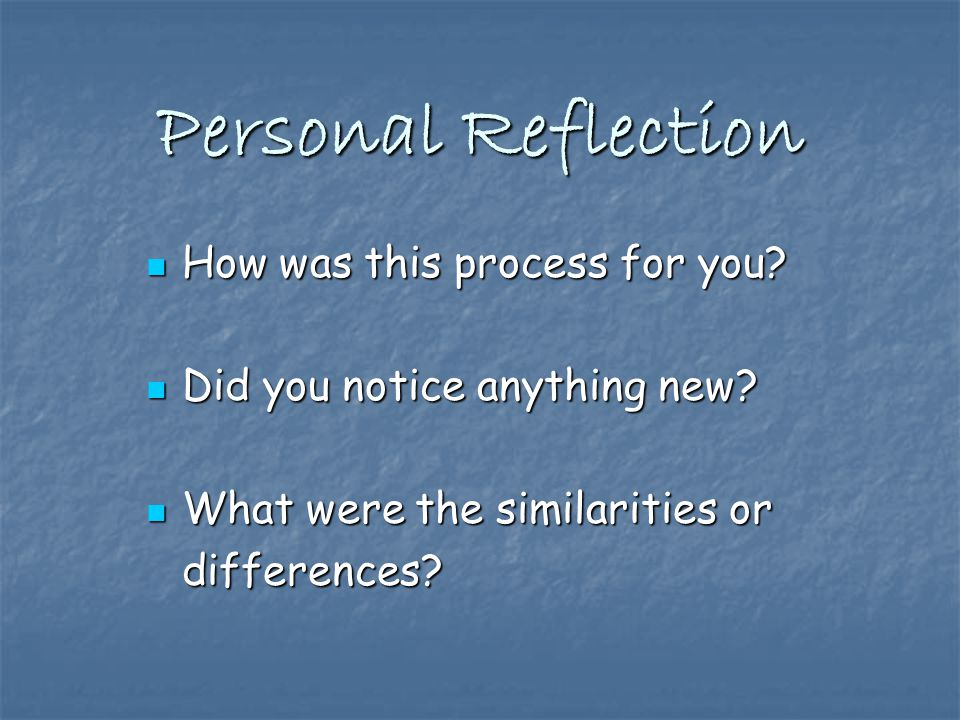 Personal Reflection How was this process for you. How was this process for you.
