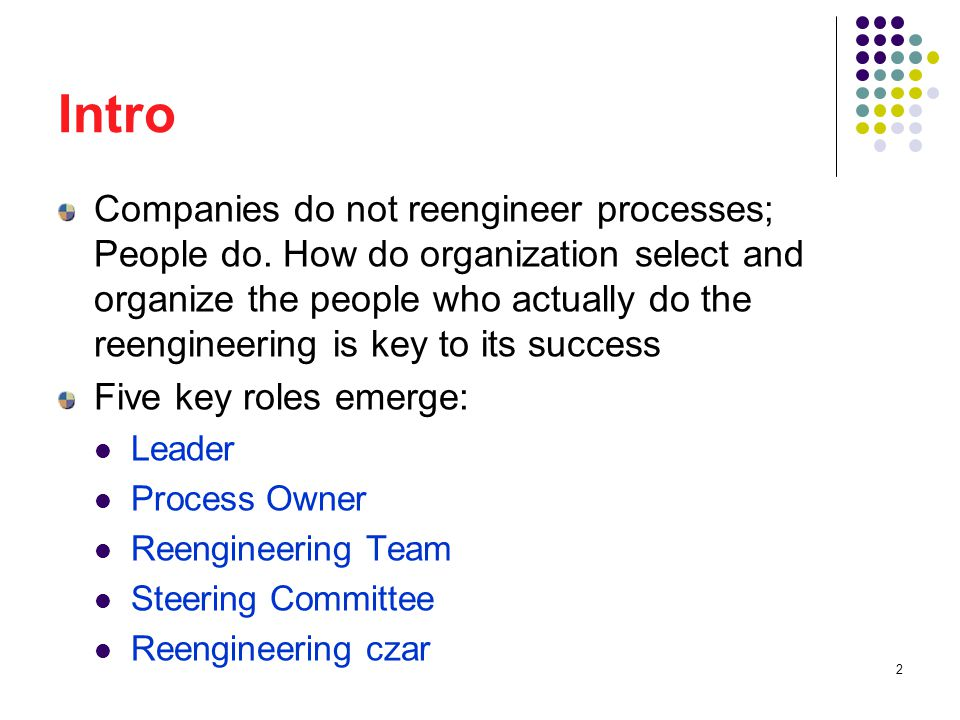 33 Reengineering Czar Process owners and their teams focus on their specific reengineering projects.