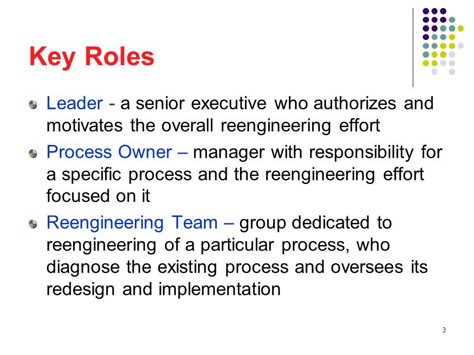 34 Reengineering Czar The reengineering czar serves as the leader s chief of staff for reengineering.