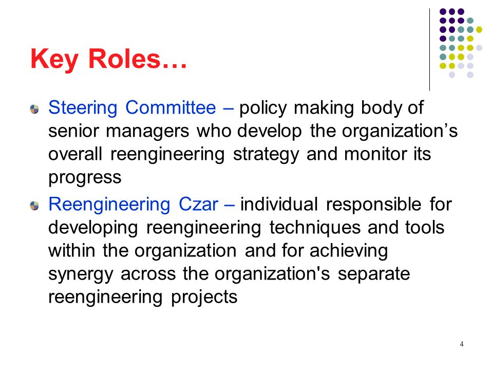 35 Reengineering Czar A newly appointed process owner s first call should be to the czar, who knows what needs to get done to make reengineering happen.