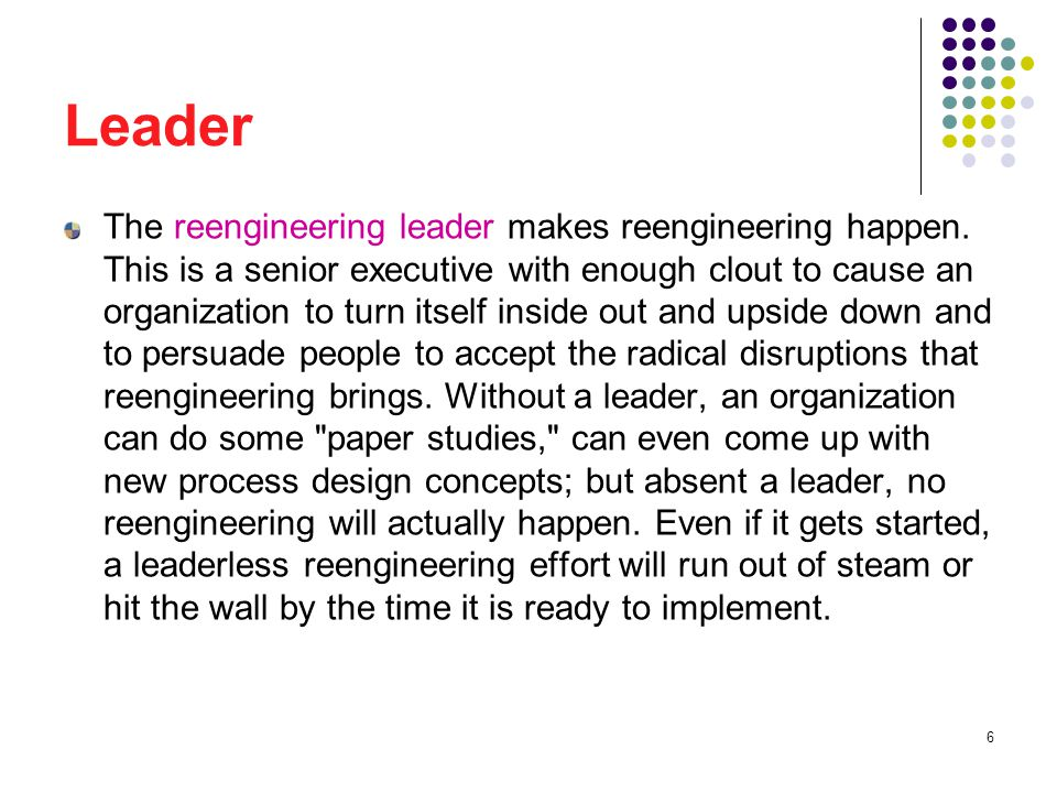 7 Leader The leader s primary role is to act as visionary and motivator.
