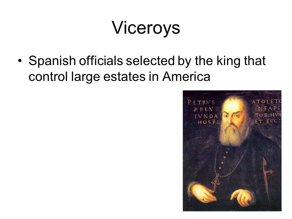 Viceroys Spanish officials selected by the king that control large estates in America