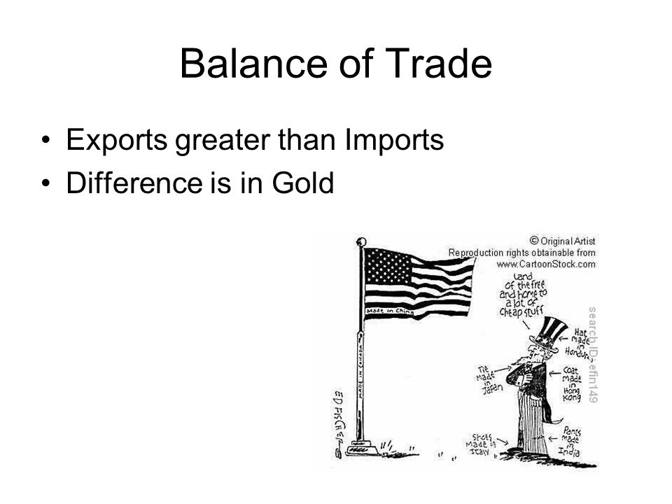 Balance of Trade Exports greater than Imports Difference is in Gold