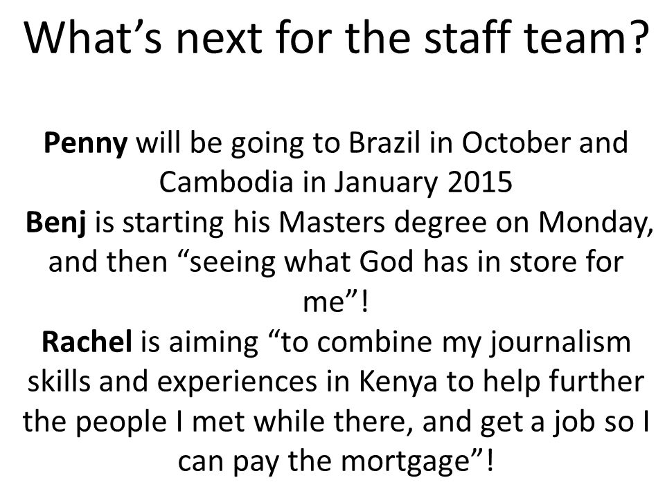 What's next for the staff team.