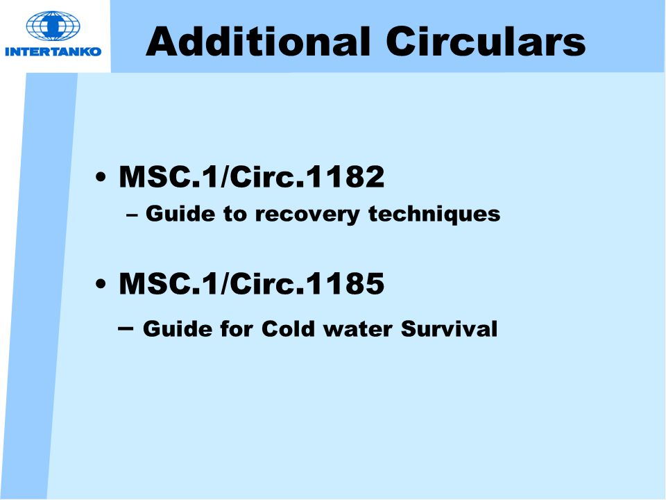 Additional Circulars MSC.1/Circ.1182 – Guide to recovery techniques MSC.1/Circ.1185 – Guide for Cold water Survival