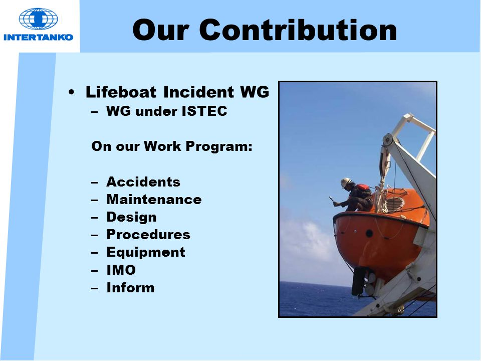 Our Contribution Lifeboat Incident WG –WG under ISTEC On our Work Program: –Accidents –Maintenance –Design –Procedures –Equipment –IMO –Inform