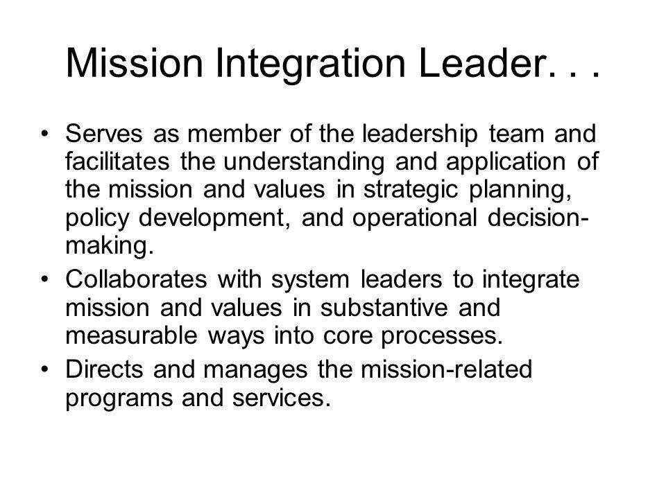 Mission Integration Leader...