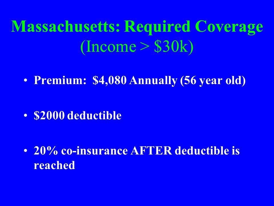 Massachusetts: Required Coverage (Income > $30k) Premium: $4,080 Annually (56 year old) $2000 deductible 20% co-insurance AFTER deductible is reached