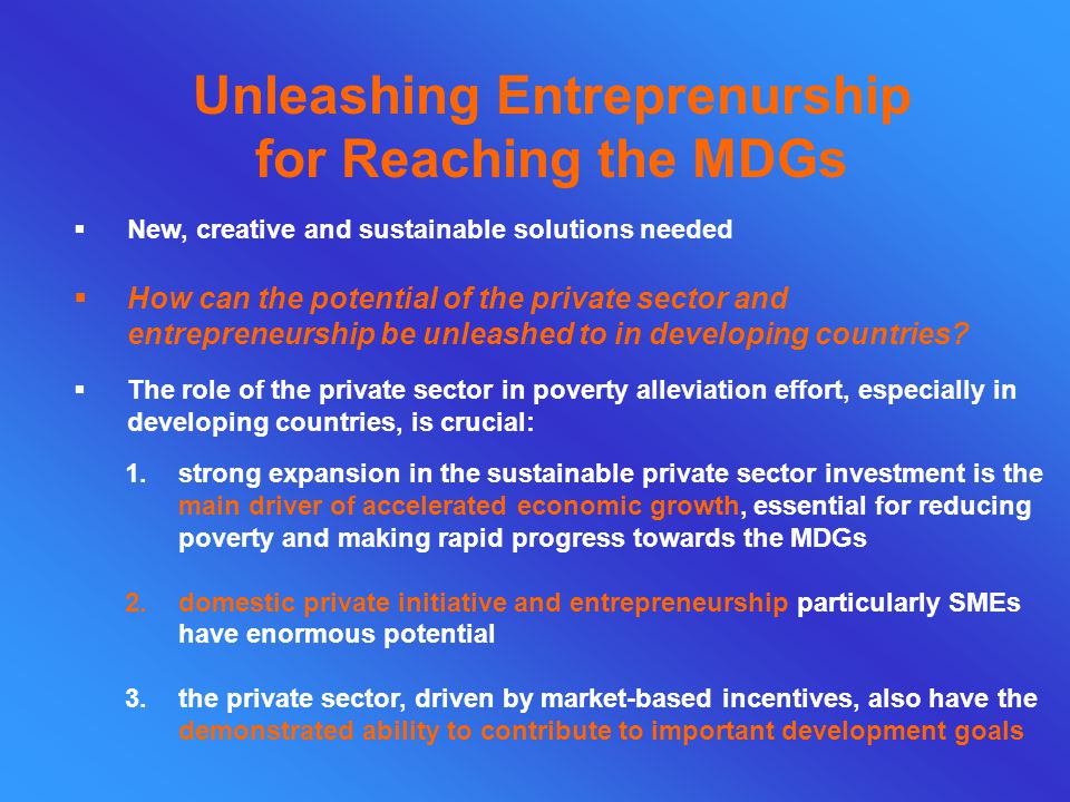 Unleashing Entreprenurship for Reaching the MDGs  New, creative and sustainable solutions needed 1.strong expansion in the sustainable private sector investment is the main driver of accelerated economic growth, essential for reducing poverty and making rapid progress towards the MDGs 2.domestic private initiative and entrepreneurship particularly SMEs have enormous potential 3.the private sector, driven by market-based incentives, also have the demonstrated ability to contribute to important development goals  How can the potential of the private sector and entrepreneurship be unleashed to in developing countries.