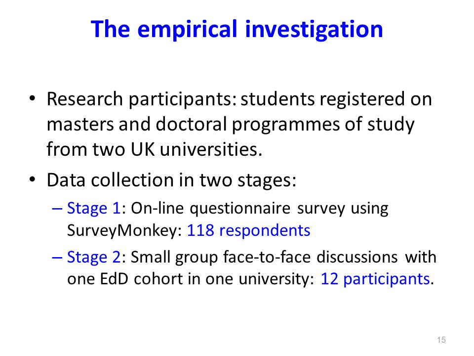 The empirical investigation Research participants: students registered on masters and doctoral programmes of study from two UK universities. Data coll