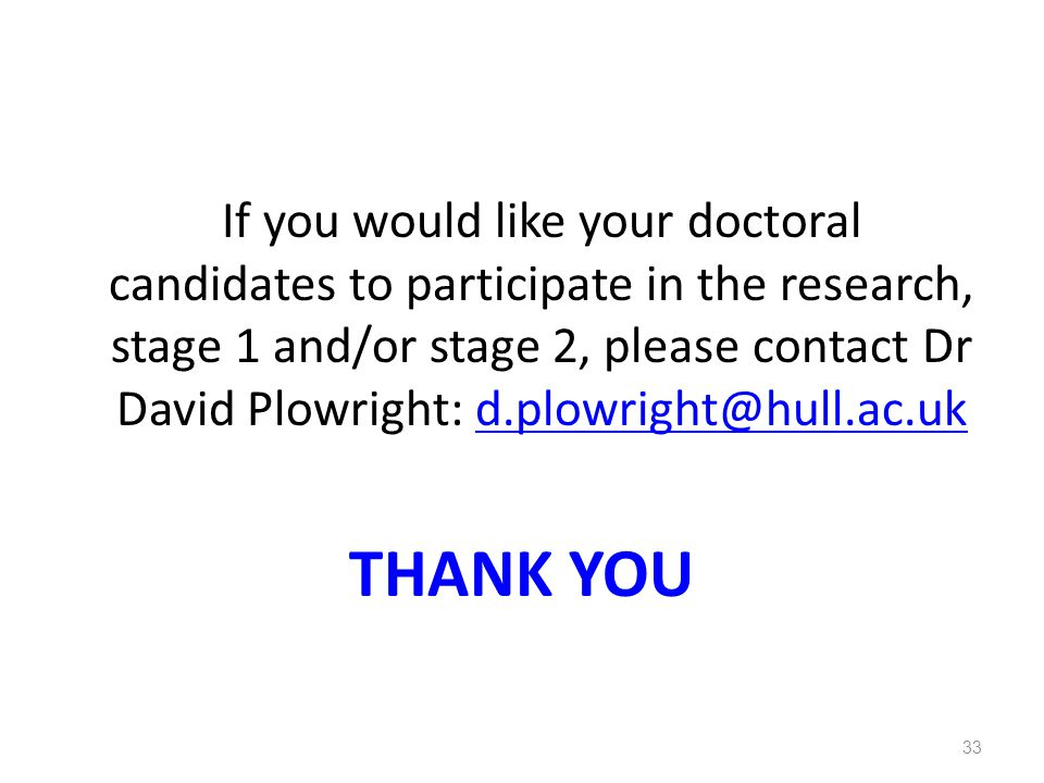 If you would like your doctoral candidates to participate in the research, stage 1 and/or stage 2, please contact Dr David Plowright: d.plowright@hull