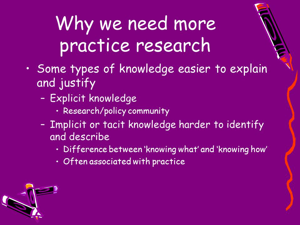 Why we need more practice research Some types of knowledge easier to explain and justify –Explicit knowledge Research/policy community –Implicit or tacit knowledge harder to identify and describe Difference between 'knowing what' and 'knowing how' Often associated with practice