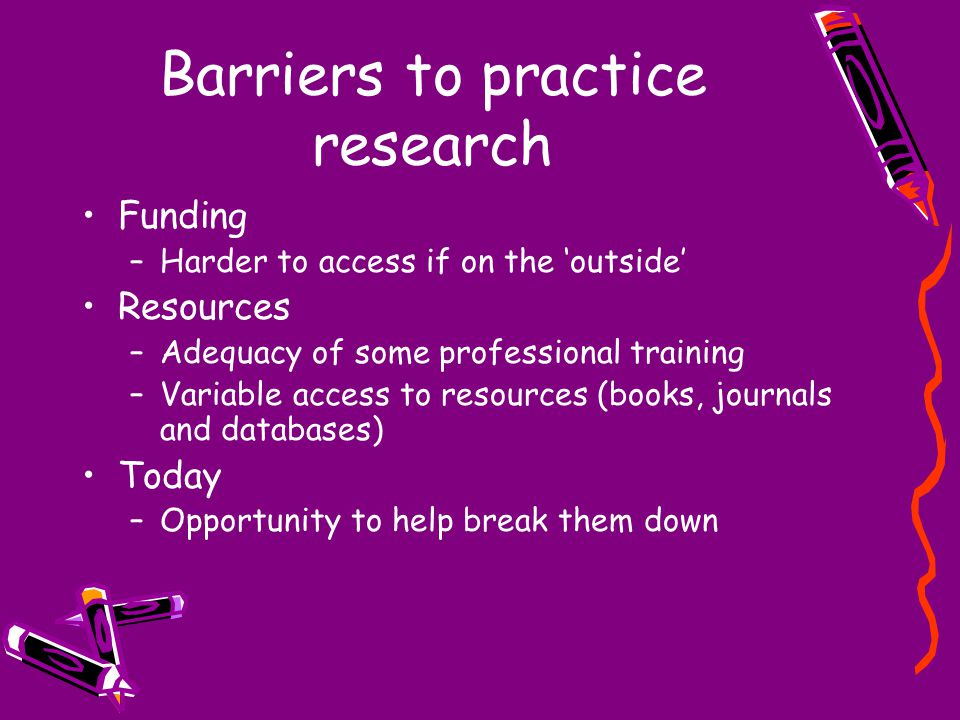 Barriers to practice research Funding –Harder to access if on the 'outside' Resources –Adequacy of some professional training –Variable access to resources (books, journals and databases) Today –Opportunity to help break them down