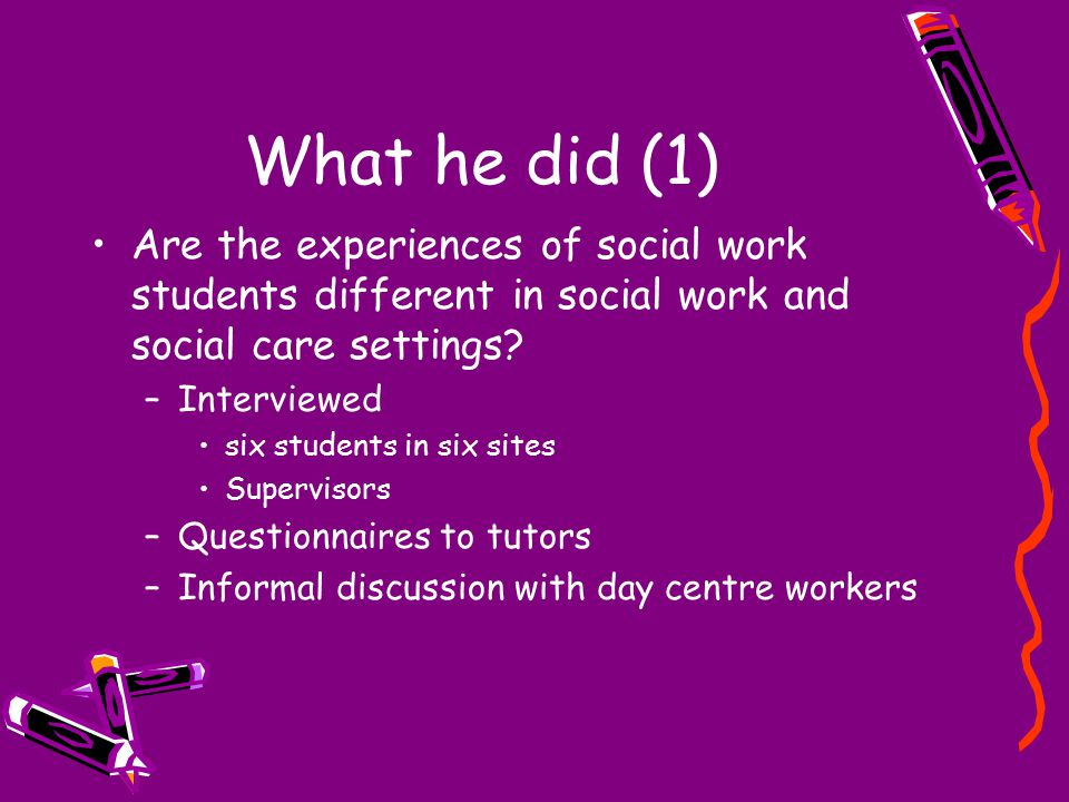 What he did (1) Are the experiences of social work students different in social work and social care settings? –Interviewed six students in six sites