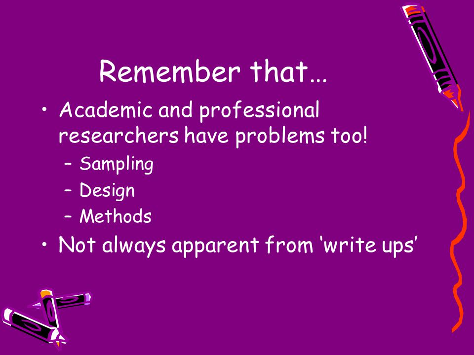 Remember that… Academic and professional researchers have problems too! –Sampling –Design –Methods Not always apparent from 'write ups'